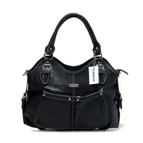 Coach Embossed Medium Black Satchels DET