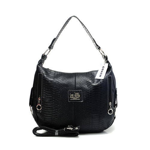 Coach Madison Embossed Small Black Hobo DEY