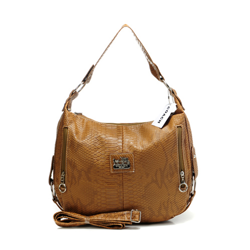 Coach Madison Embossed Small Brown Hobo DEZ