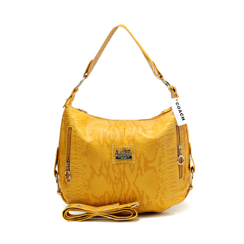Coach Madison Embossed Small Yellow Hobo DFB