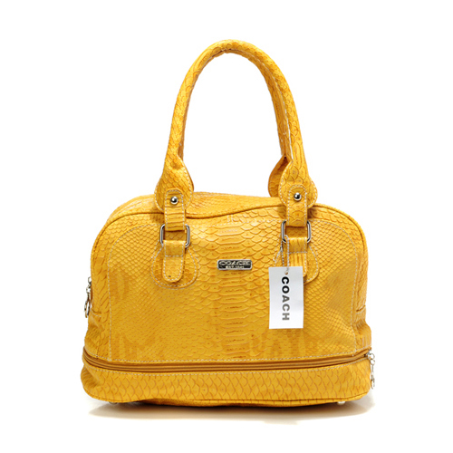 Coach Madison In Embossed Medium Yellow Satchels DFG
