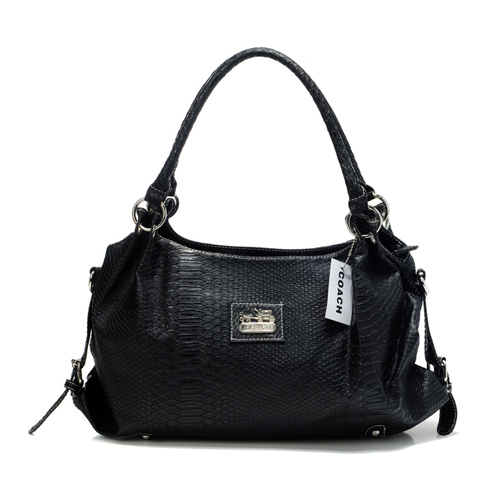 Coach In Embossed Medium Black Satchels DFN