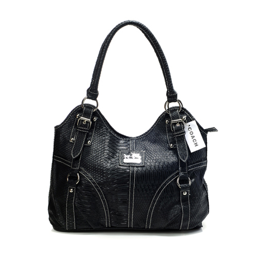 Coach In Embossed Medium Black Satchels DFS