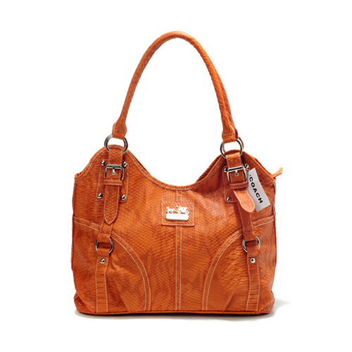 Coach In Embossed Medium Orange Satchels DFU