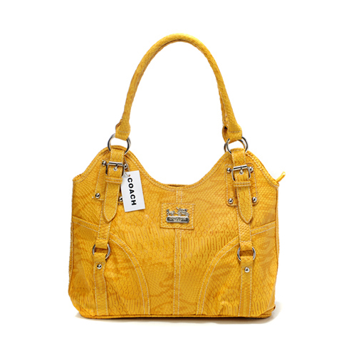 Coach In Embossed Medium Yellow Satchels DFV