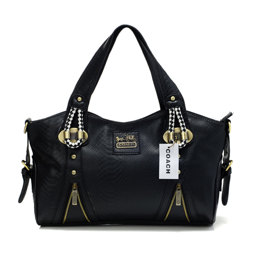 Coach In Embossed Medium Black Totes DFX