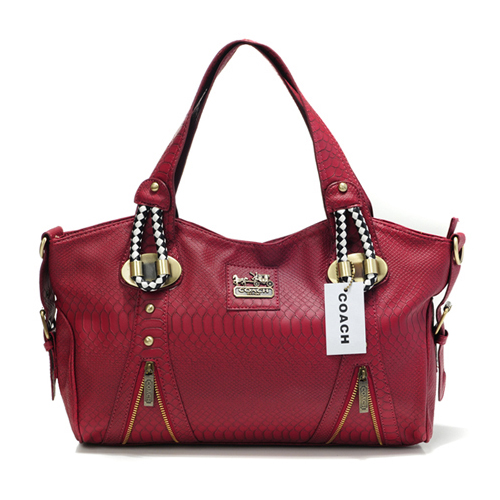 Coach In Embossed Medium Red Totes DFY