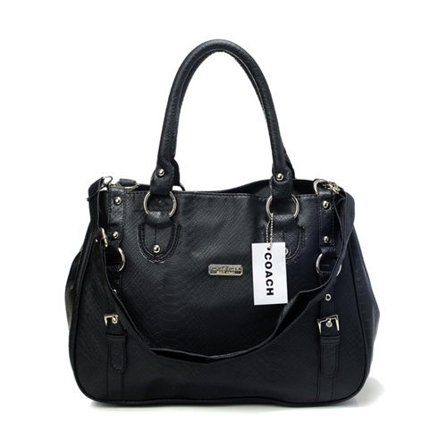 Coach Embossed Logo Medium Black Totes DGA