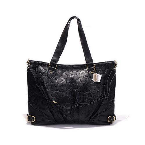 Coach Embossed In Monogram Large Black Satchels DGD