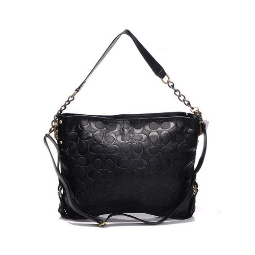 Coach Embossed In Monogram Medium Black Shoulder Bags DGI