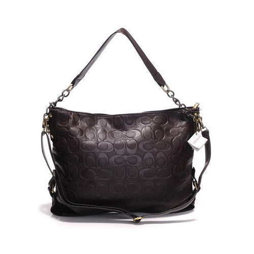 Coach Embossed In Monogram Medium Coffee Shoulder Bags DGJ
