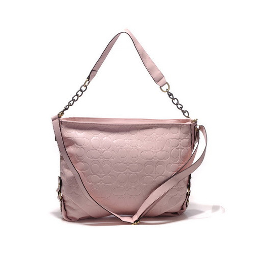 Coach Embossed In Monogram Medium Pink Shoulder Bags DGL