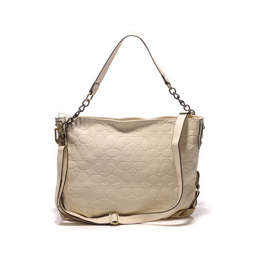 Coach Embossed In Monogram Medium White Shoulder Bags DGM
