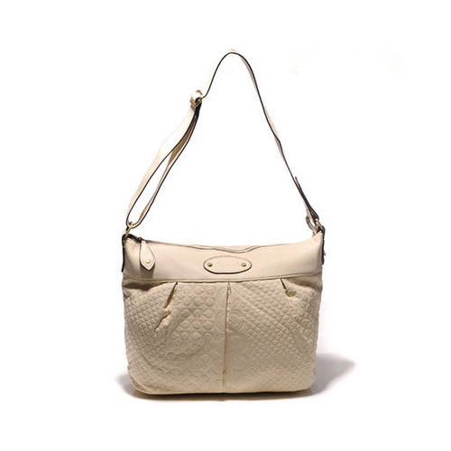 Coach Embossed In Monogram Medium White Crossbody Bags DGQ