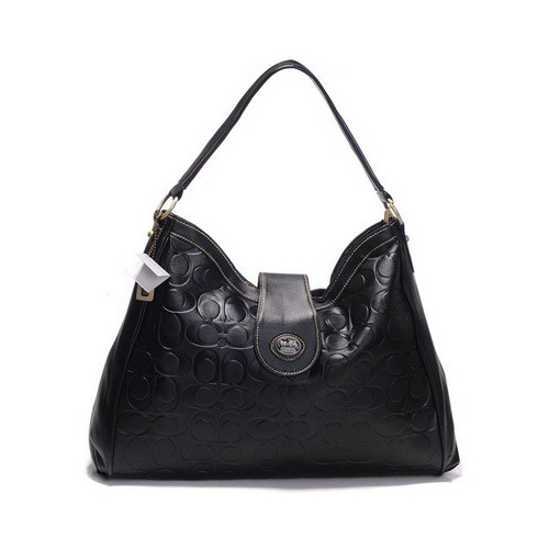 Coach Madison In Embossed Large Black Shoulder Bags DGU