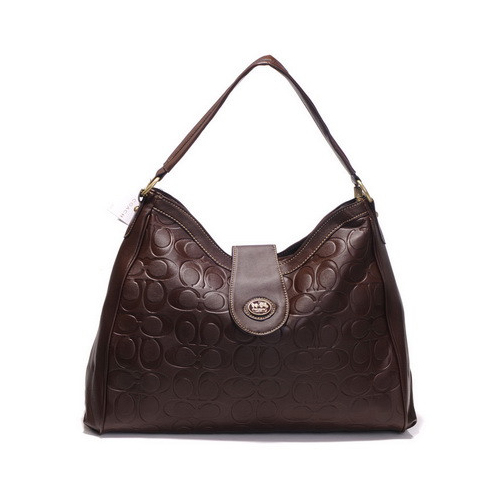 Coach Madison In Embossed Large Coffee Shoulder Bags DGV