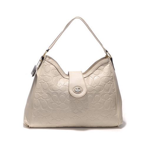 Coach Madison In Embossed Large White Shoulder Bags DGW