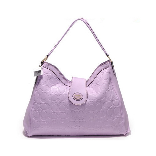 Coach Madison In Embossed Large Purple Shoulder Bags DGX