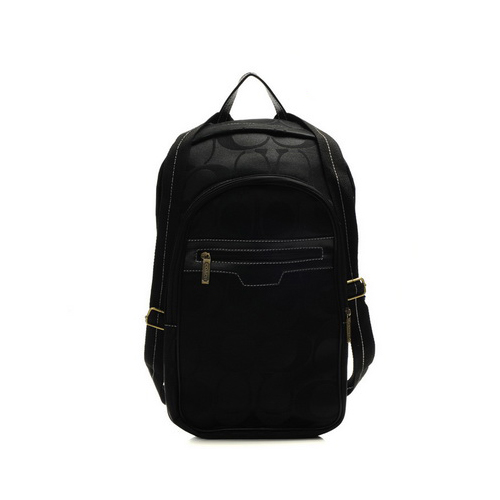 Coach Bleecker Monogram Medium Black Backpacks DHK
