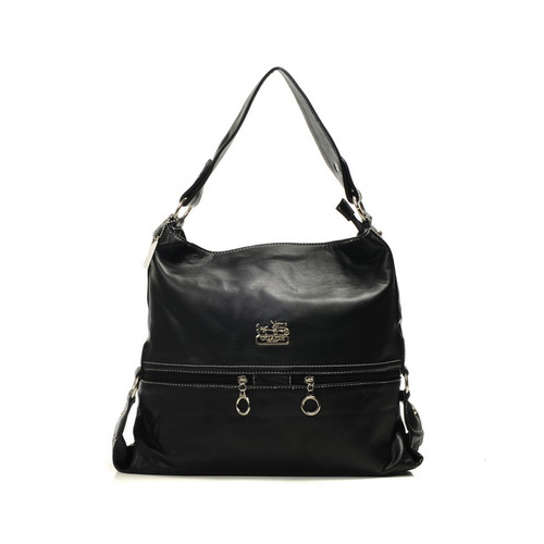 Coach Zip Logo Large Black Shoulder Bags DIK