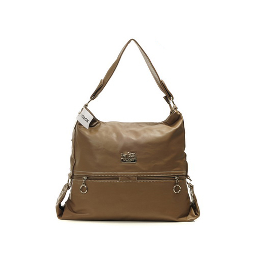 Coach Zip Logo Large Brown Shoulder Bags DIM