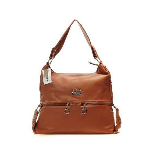 Coach Zip Logo Large Tan Shoulder Bags DIN