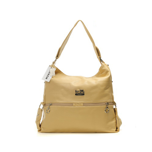 Coach Zip Logo Large Ivory Shoulder Bags DIO