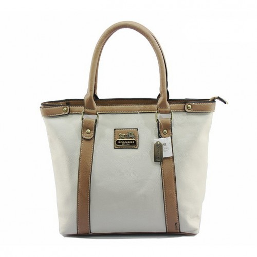 Coach North South Medium White Totes DJD