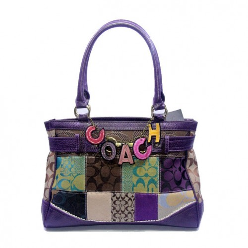 Coach Holiday In Monogram Large Purple Satchels DJU