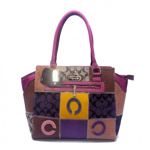 Coach Holiday Logo Medium Fuchsia Satchels DJX