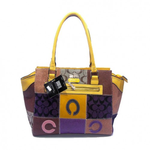 Coach Holiday Logo Medium Yellow Satchels DKD