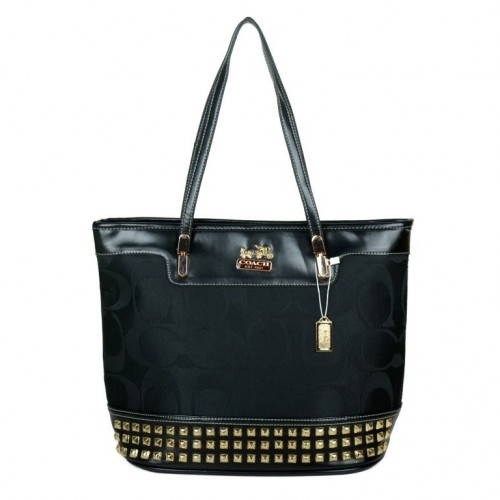 Coach Tanner Stud Medium Black Totes DKK