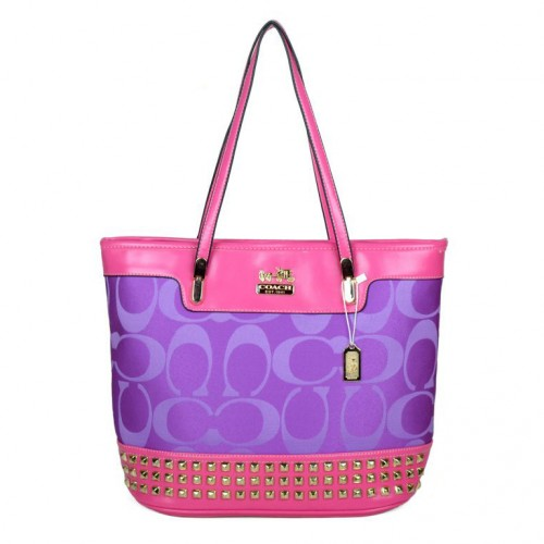 Coach Tanner Stud Medium Purple Totes DKL