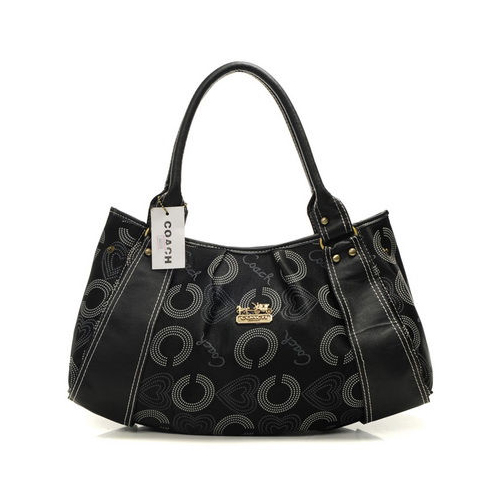 Coach Waverly Logo Large Black Satchels DMR