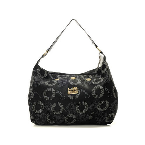 Coach Waverly Logo Large Black Shoulder Bags DMU