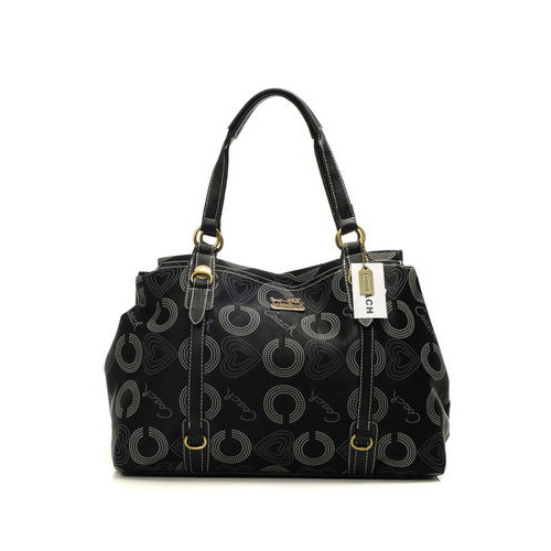Coach Waverly Logo Large Black Totes DMX