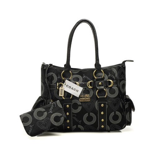 Coach Waverly Stud In Signature Medium Black Totes DNG