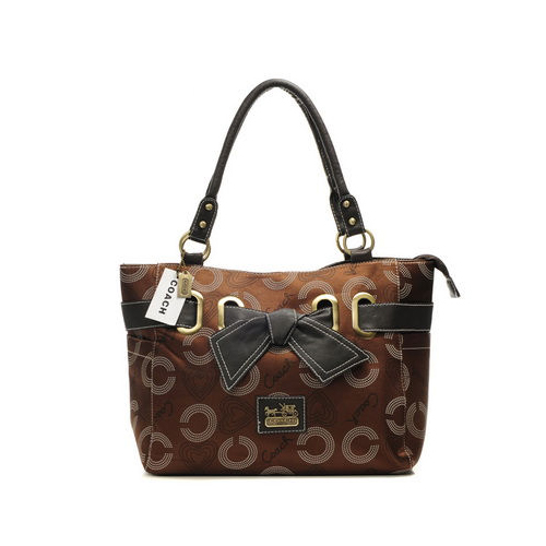 Coach Bowknot Signature Medium Coffee Totes DNK