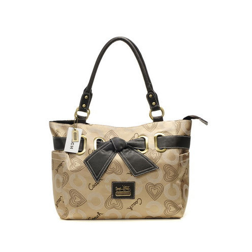 Coach Bowknot Signature Medium Khaki Totes DNL