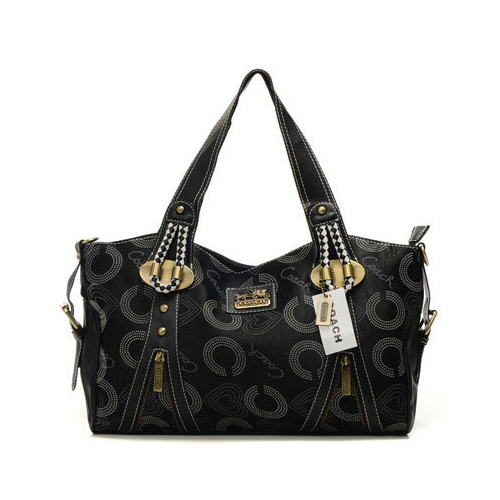 Coach Logo In Monogram Medium Black Totes DNP