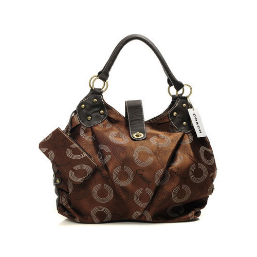 Coach Waverly Logo Medium Coffee Satchels DNT