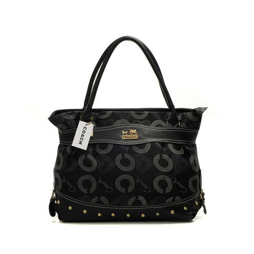 Coach Waverly Stud In Signature Large Black Satchels DNY