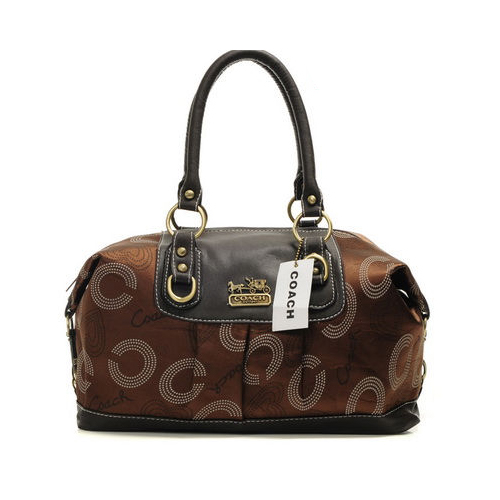 Coach Logo In Monogram Medium Coffee Satchels DOC
