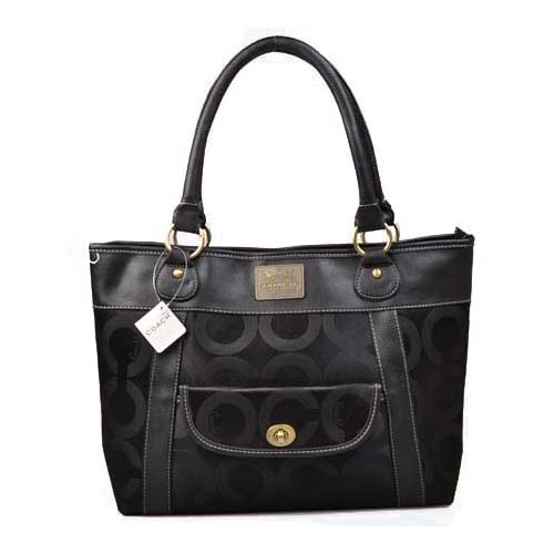 Coach Logo Monogram Large Black Totes DOE