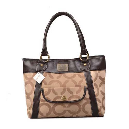 Coach Logo Monogram Large Khaki Totes DOG