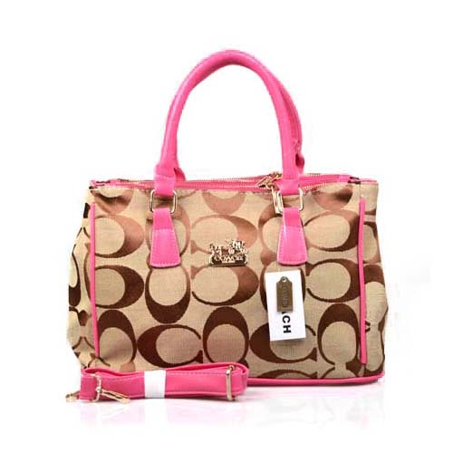 Coach In Signature Medium Pink Satchels DOK