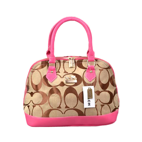 Coach Madison Signature Medium Pink Satchels DOO