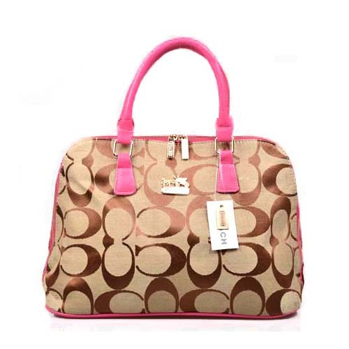 Coach Logo Monogram Large Pink Satchels DOS