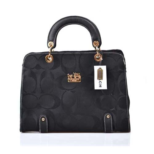 Coach Borough Logo Medium Black Satchels DOU