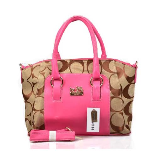 Coach Madison Signature Medium Pink Totes DPE